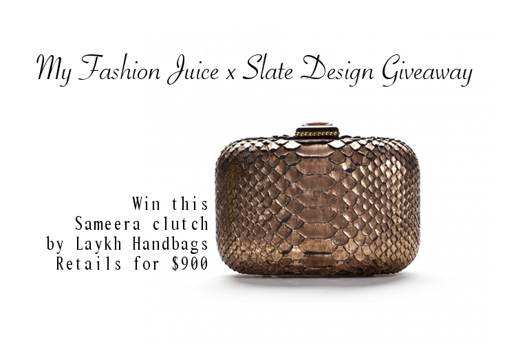 My Fashion Juice, Slate Design, Giveaway, exotic skin clutch, same era, laykh handbags