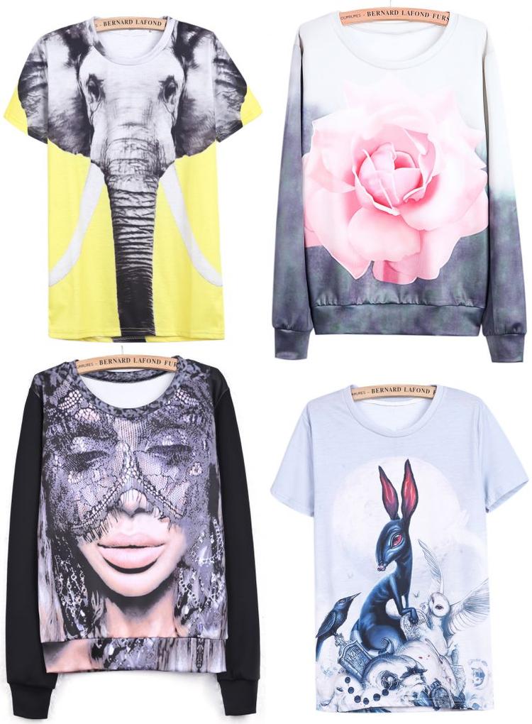Sheinside Design Presale, printed tees, printed sweaters
