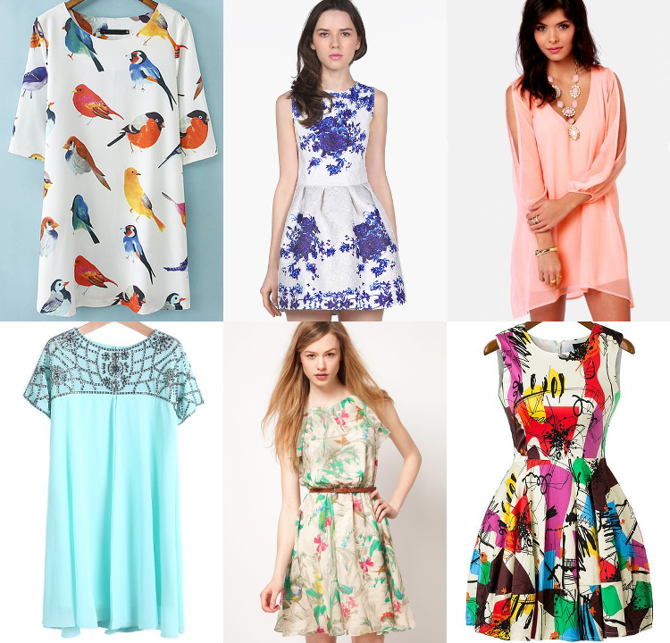 SheInside, spring, dresses, pastels, dress, florals, bird print