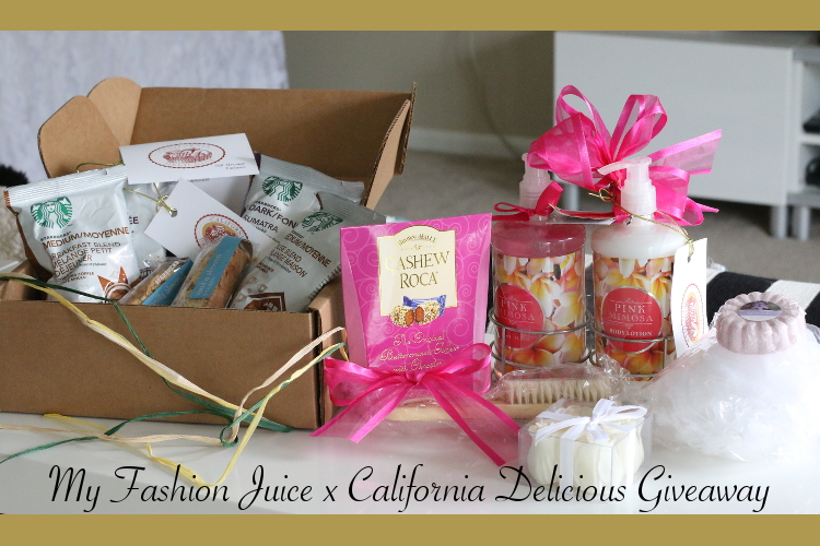 California Delicious, gift basket, package, mimosa spa products, starbucks coffee sampler gift, giveaway, contest