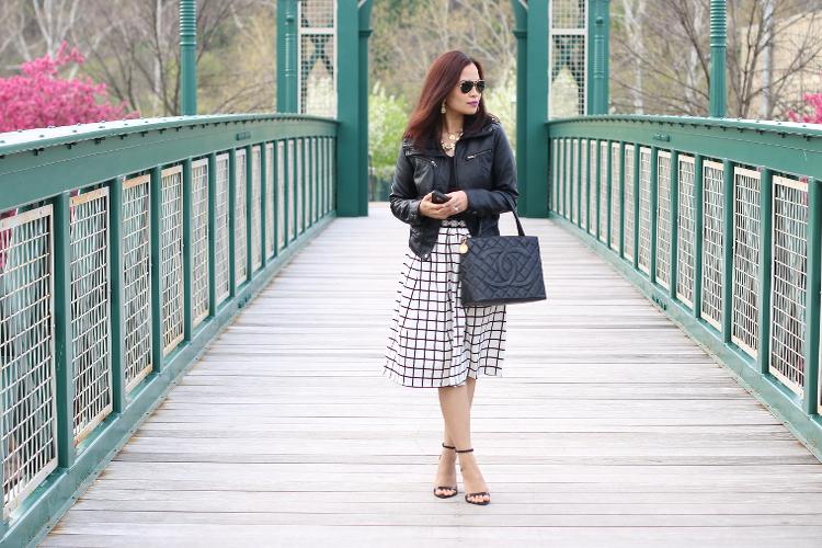 Endless Rose Skirt, Check skirt, window pane, full skirt, midi skirt, feminine, edgy, black and white outfit