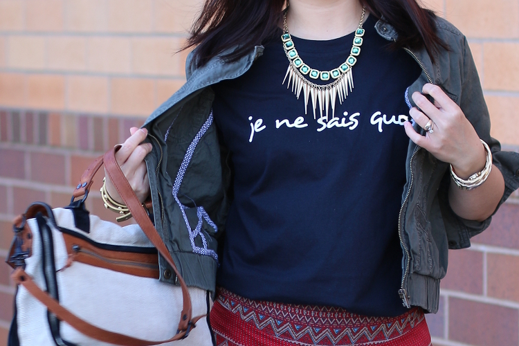 Je Ne Sais Quoi, French Expression, Statement Tee, OOTD, outfit, fashion, #wiw, what i wore, hi custom tee, tshirt, hicustom.net