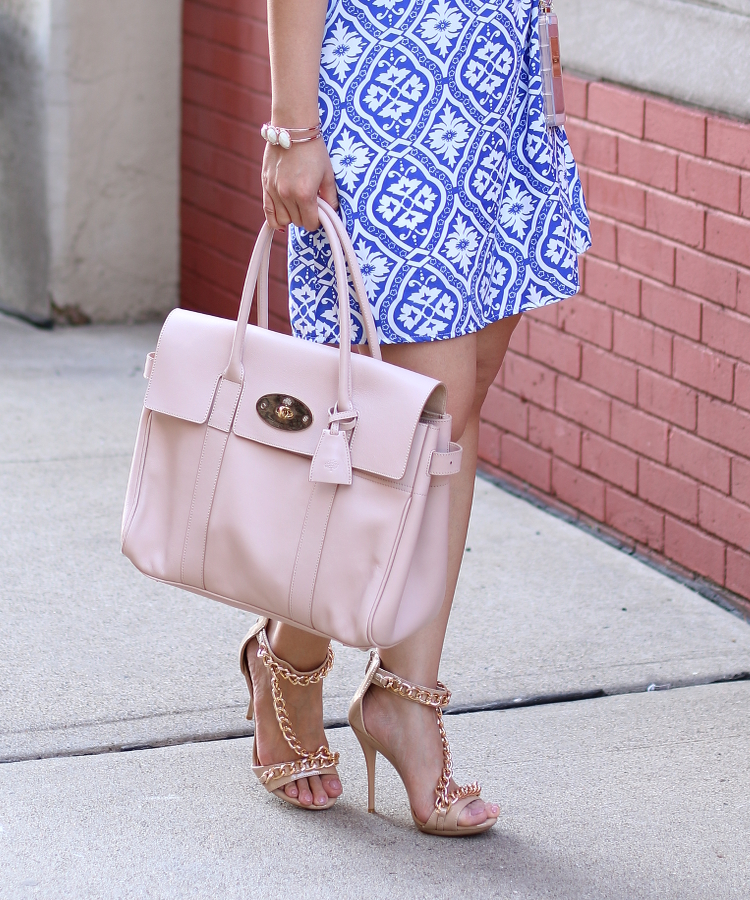 Blue, Blush Outfit, dress, floral, hat, bulgari, pink basis, mulberry, chanel perfume case, the bum shop, jules smith necklace, sunglasses