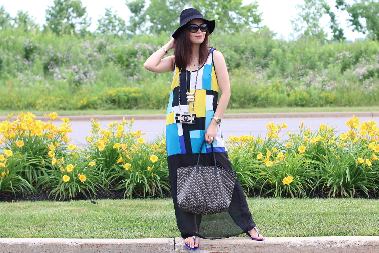 Yellow Blue and Black outfit, #ootd, fashion, maxi dress, style, pink basis, floppy hat, fibi & coo sandals, goyard tote, The BVM shop phone case, jules smith necklace, chanel sunglasses, in pink bangle, cotton on floppy hat, asha patel necklace, jacques lemans F1 watch