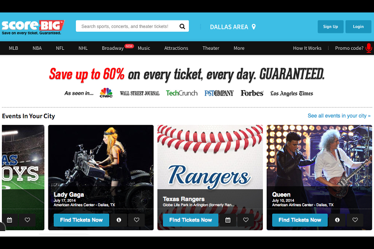 ScoreBig, tickets, events, sports, concerts, save