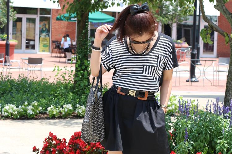 Kate Spade Saturday shirt, skirt, Tory Burch belt, Michael Kors shoes, Goyard St. Louis PM Tote, Chane sunglasses, outfit, #ootd, Jill Pineda bowtie