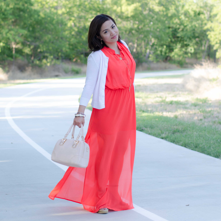 Orange maxi dress for the mini, petite fashion, #ootd, outfit of the day, style, Publik store, shoplately