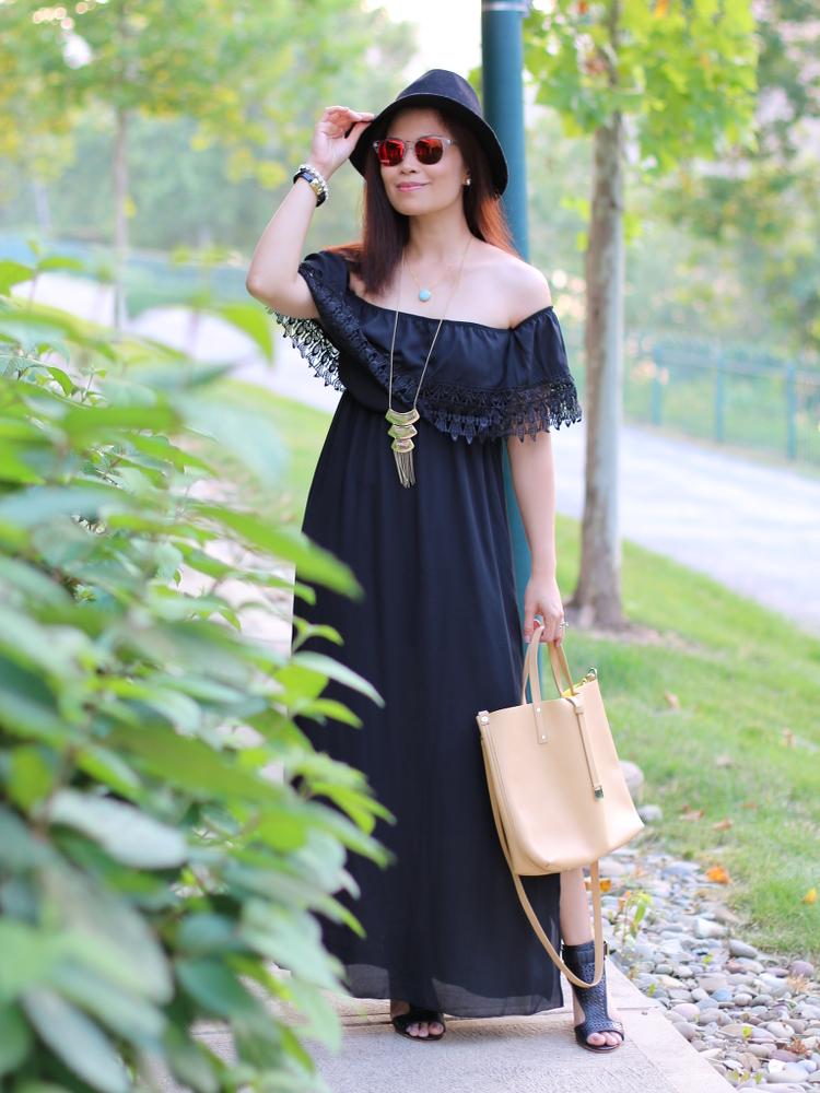 Pink Blush, shoppinkblush.com, myfashionjuice, #ootd, outfit, style, black, boho, bohemian look, fashion
