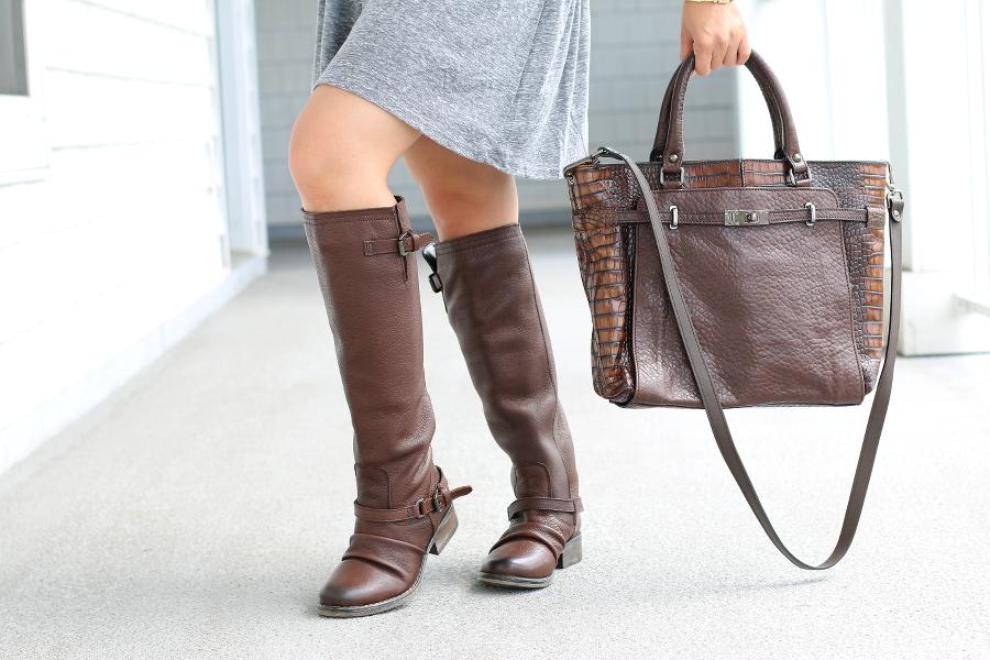 #DSWShoeHookup, Back to class, DSW, shoes, contest, winner, Drop Waist Dress, Topshop, Chooset bag, Steve madden Ravinn riding boot, boots, fall fashion