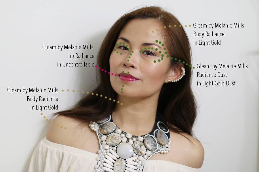 Gleam by Melanie Mills, makeup, beauty, body radiance, lip radiance, radiance dust, glowing look, face of the day, beauty tutorial, beauty review, makeup review, #gleamalicious, #iamgleam, #gleamgirl