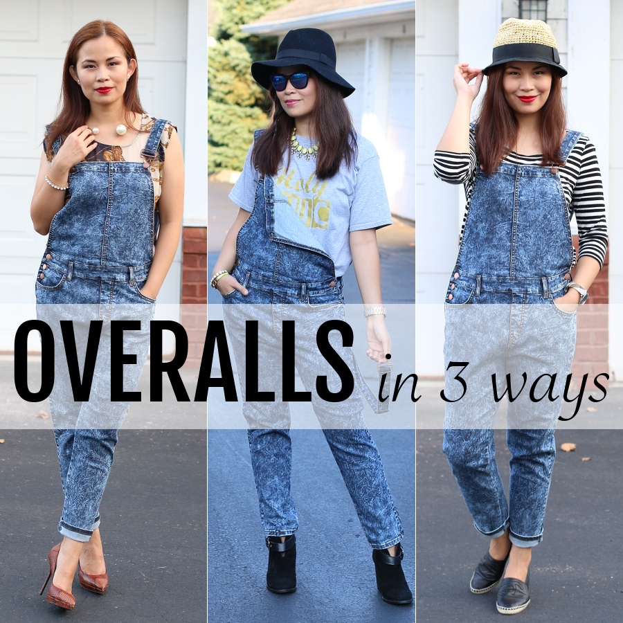 overalls in 3 ways, outfit inspiration, trend, denim, acid wash, jeans, style, fashion