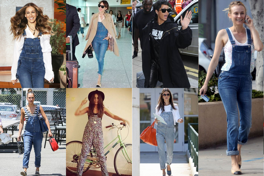 overalls, celebrities, outfit inspiration, trend, denim, acid wash, jeans, style, fashion