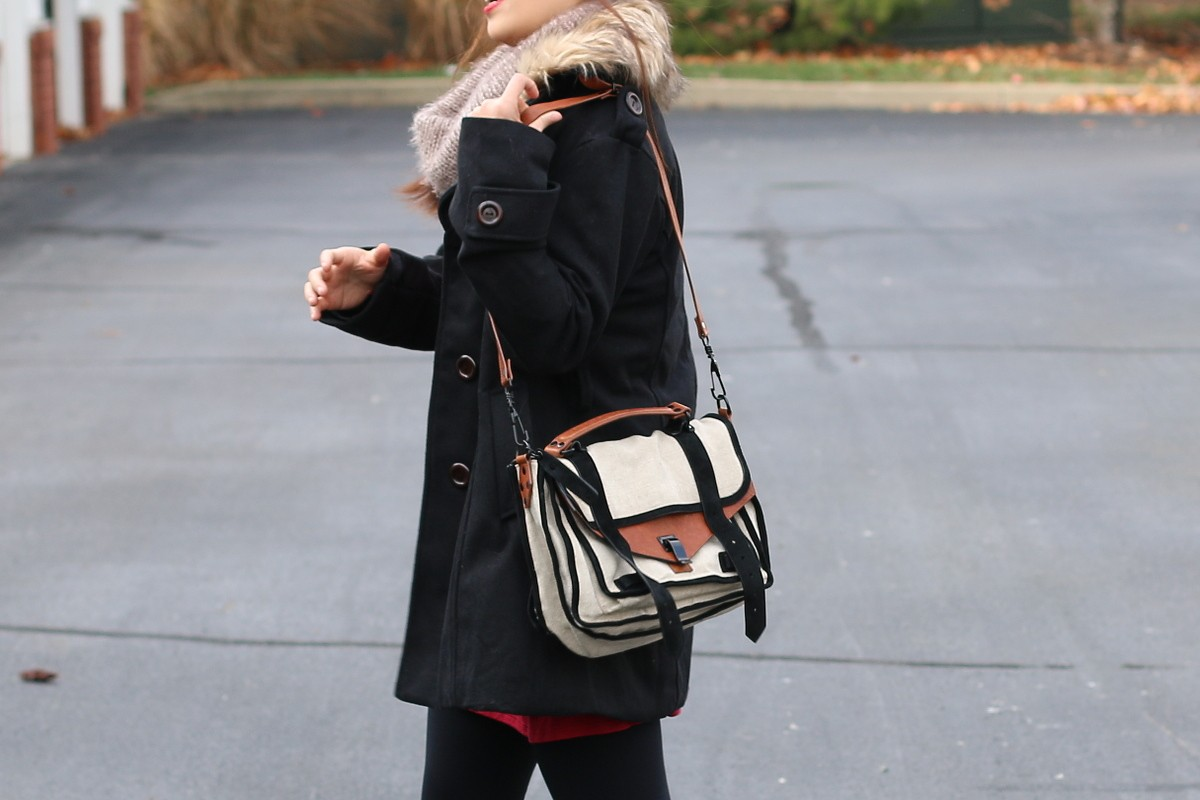 Shop Pink Blush, Small business saturday, outfit, ootd, fashion, style, festive, holiday look, black coat, red sweater dress, faux leather sleeves, hunter boots, Proenza Schouler PS1 bag