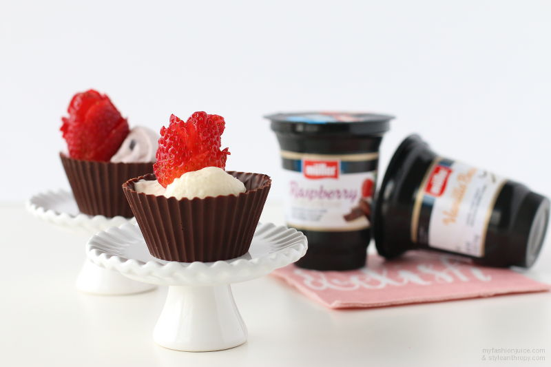Müller® Ice Cream Inspired Yogurt, chocolate cups, chocolate bowls, strawberry roses, recipe, cooking, sweets, #MullerMoment, Muller, shop, #cbias, #CollectiveBias