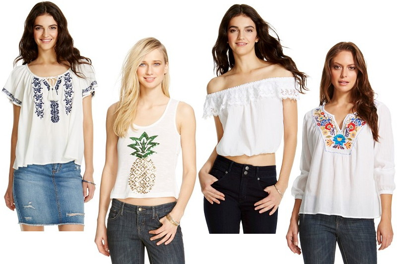 white tops, blouses, Target, pineapple, off shoulder