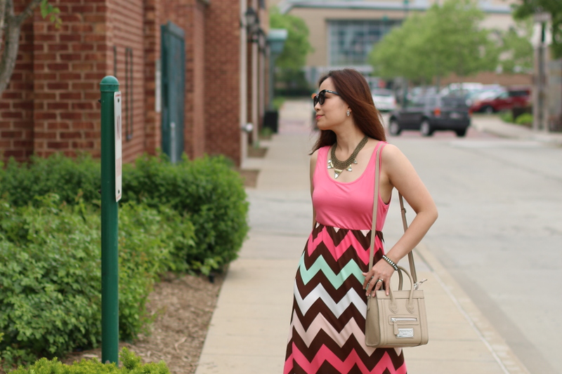 pink chevron maxi dress, Zaful, outfit, weekend look