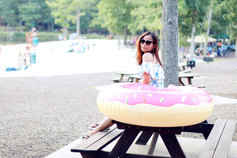 Tie Dye dress, donut float, lakeside outfit