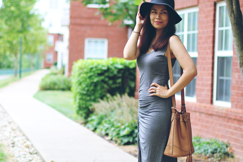 Dress, bucket bag, floppy hat, music festival outfit