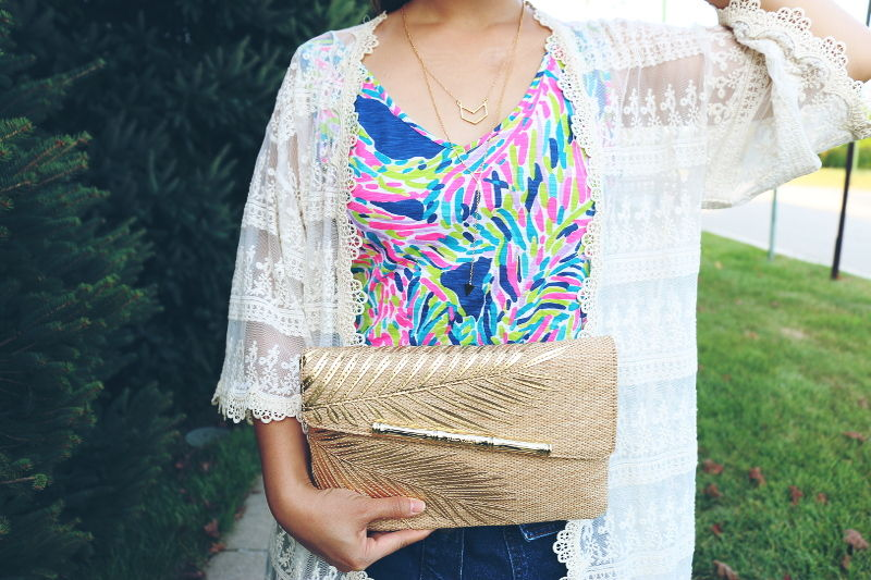 Lilly Pulitzer, GiGi V-neck tank top, Coco Straw clutch, outfit