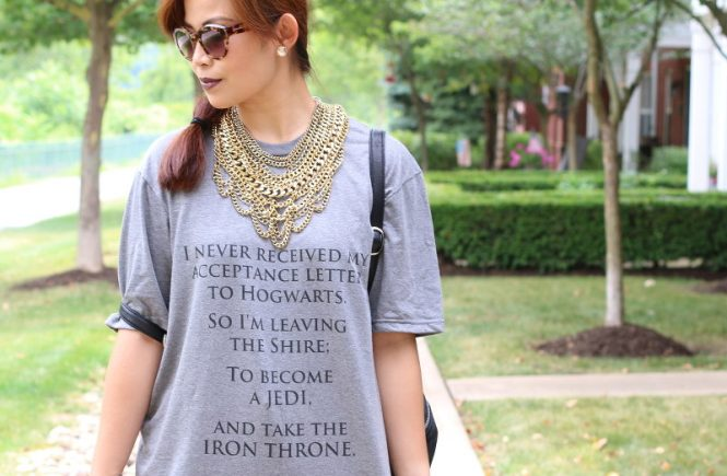 Custom Iron Throne tee, Allied Shirts, Bauble Bar Courtney Bib necklace