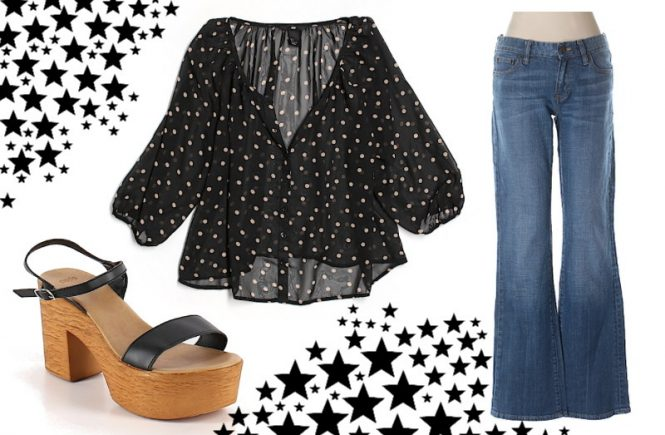 thredUp outfit, polka dot blouse, flare jeans, wooden sandals