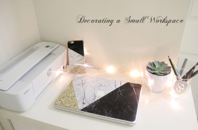 How to decorate a small workspace, desk, office, printer, laptop, phone