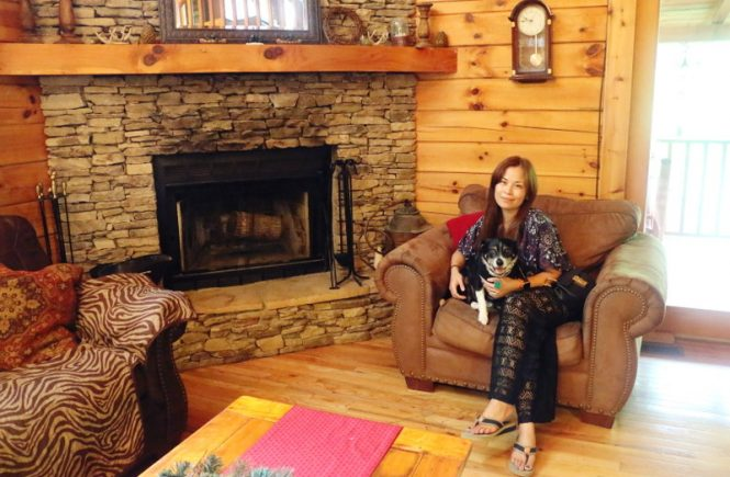 Log Cabin Glamping, fireplace, travel, dog, beagle, treehouse