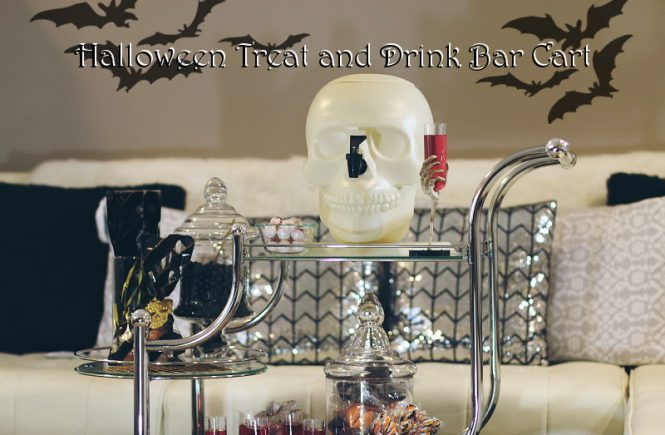 halloween treat drink bar cart, skull drink container, skeleton hand glass