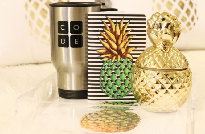 pineapple tray, code mug, pineapple notebook, gold pineapple, home design, decor