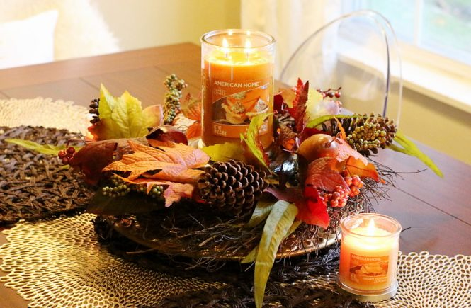American Home™ by Yankee Candle®, Fall Centerpiece, home fragrance, no-sew table runner, DIY