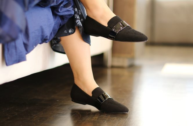 SAS Black Suede Luxe Flat Shoes